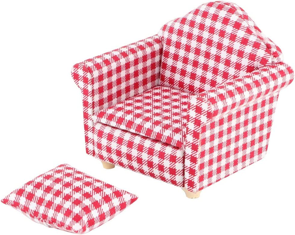 awstroe Dollhouse Furniture, Dollhouse Furniture Dollhouse Sofas, DIY Living Room Bedroom Dollhouse(red)
