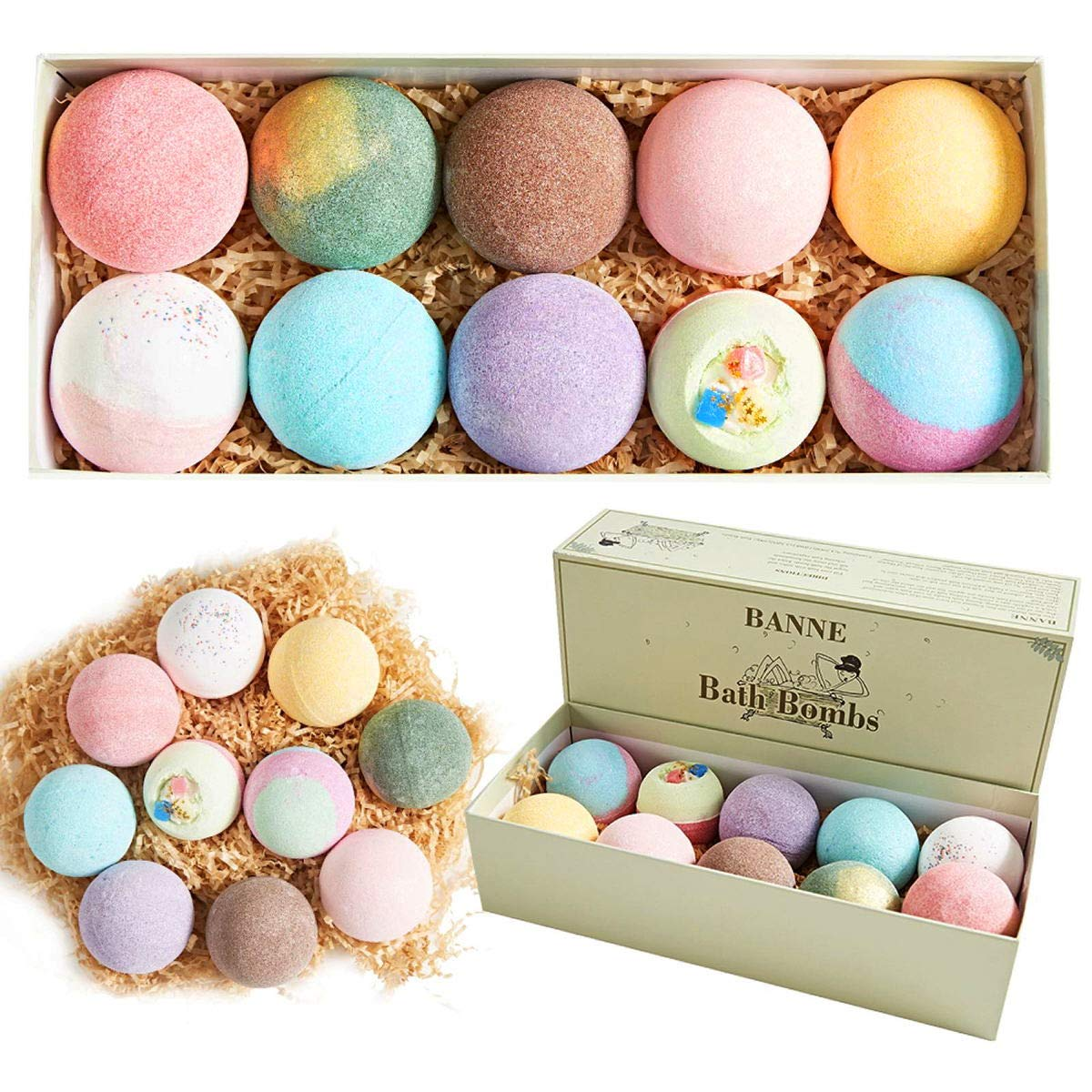 Banne Bath Bombs 10 x 4.2 oz Assorted Pack Organic Handmade Essential Oil Ultra Lush Fizzy Spa Bath Bombs Kit for Moisturizing Skin Best Gift Ideas for Women Girls