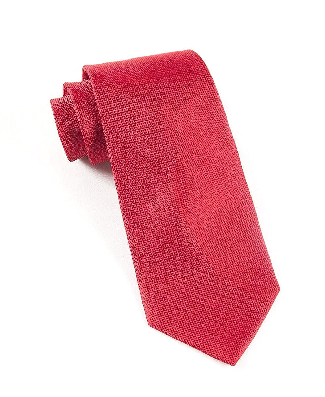 Hagora Mens Power Red Solid Textured Seerstruck Unique Elegant Woven Silk Tie