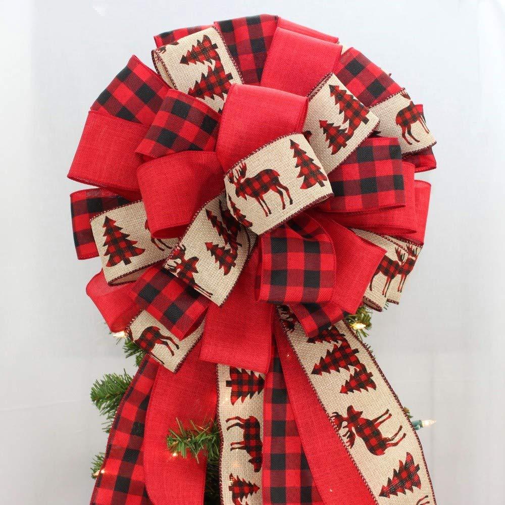 Buffalo Plaid Rustic Tree Moose Christmas Tree Topper Bow - 14