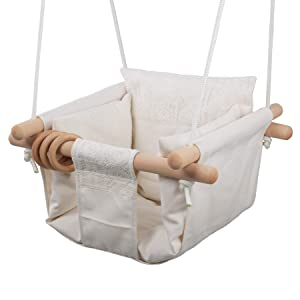 Jozeit Baby Kids Toddler Canvas Swing Seat Chair - with Cushion - Lace Decor (Beige)