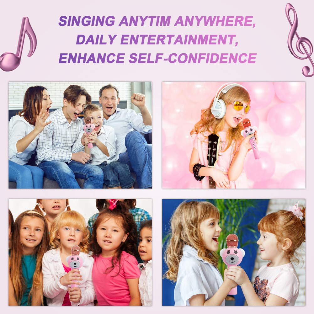 Upgraded 2019 Version Kids Karaoke Microphone with Bluetooth, Magic Voice Changer, and Flashing Multicolored LED Lights(Pink) by Garoma (Image #5)