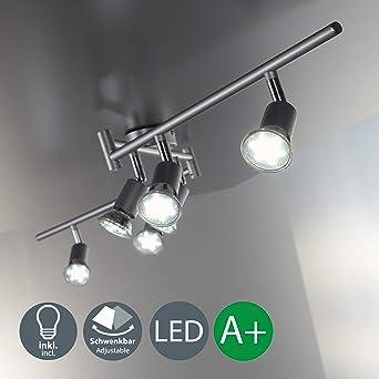 Lámpara de techo LED I Focos giratorios y orientable incl. 6x3W bombillas GU10 I Para