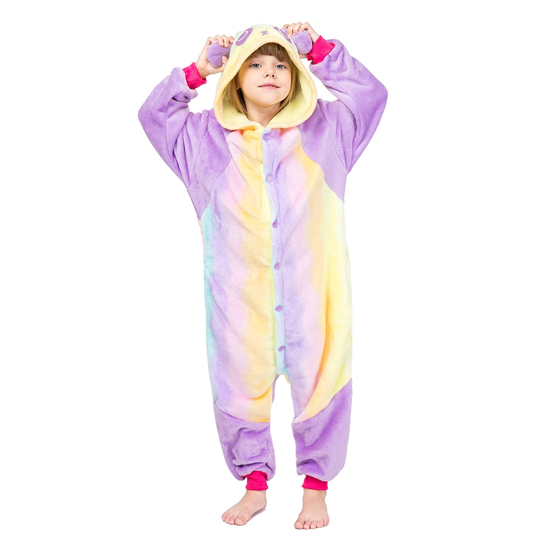 RONGTAI Kids Unisex Animal Kigurumi Flannel Panda Onesie Pajamas Cosplay Costume