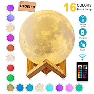 Moon Lamp 3d Printing 16 Colors Moon Light with Stand & Remote &Touch Control and USB Rechargeable (Diameter 4.72 inch), Best Birthday Thanksgiving Christmas Gifts for Baby Kids Lover, Halloween Decor