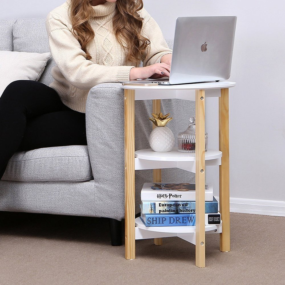 Indoor Multi-function Accent table Study Computer Desk Bedroom Living Room Modern Style End Table Sofa Side Table Coffee Table Three Round Face Table