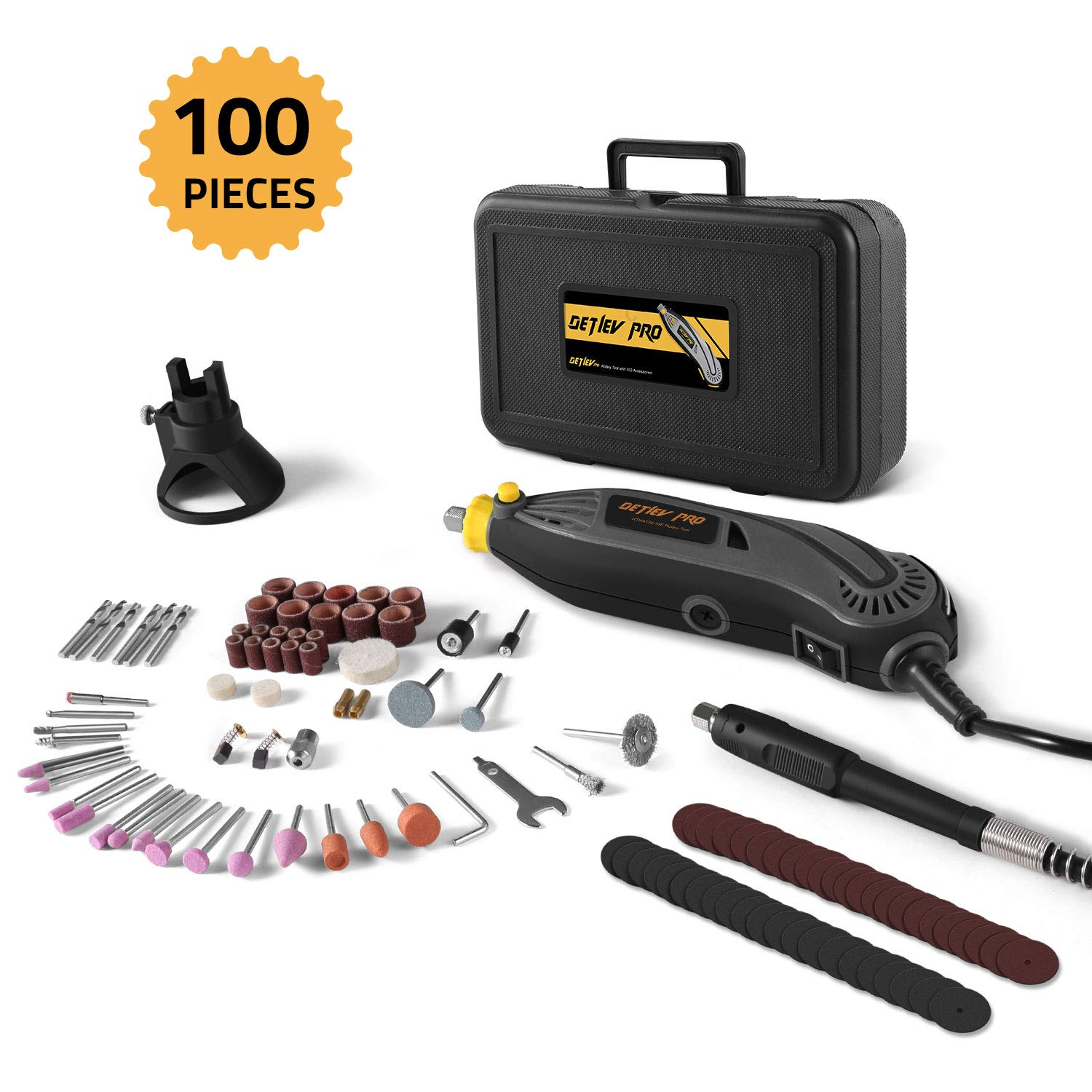 DETLEV PRO Rotary Tool Kit with 100 Accessories, 7 Variable Speed with Flexible Shaft for Cutting Sanding and Polishing, RTM4132-10E