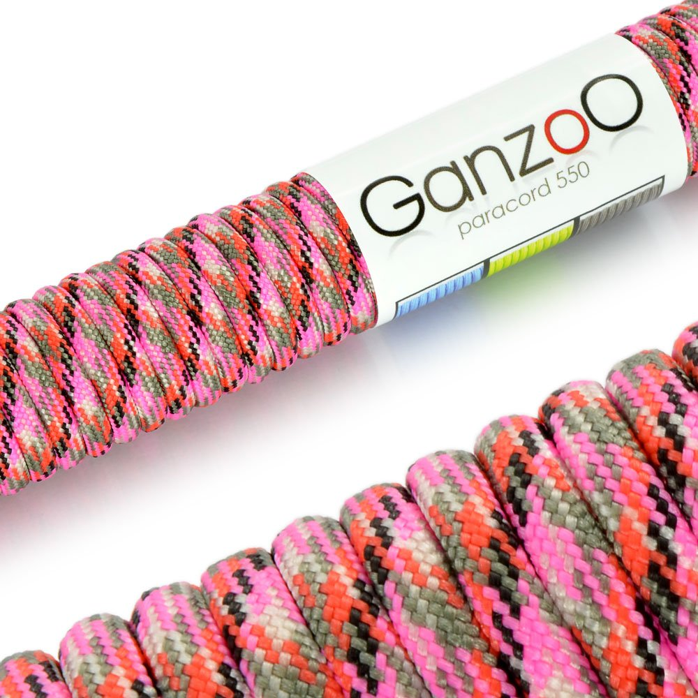'Universal Survival Rope Made of tear-resistant Parachute Cord/Paracord 550Core Rope Nylon, 550lbs, Total Length 31Meters (100ft) Color: Camo/Pink–Brand Ganzoo #5011ca_pi