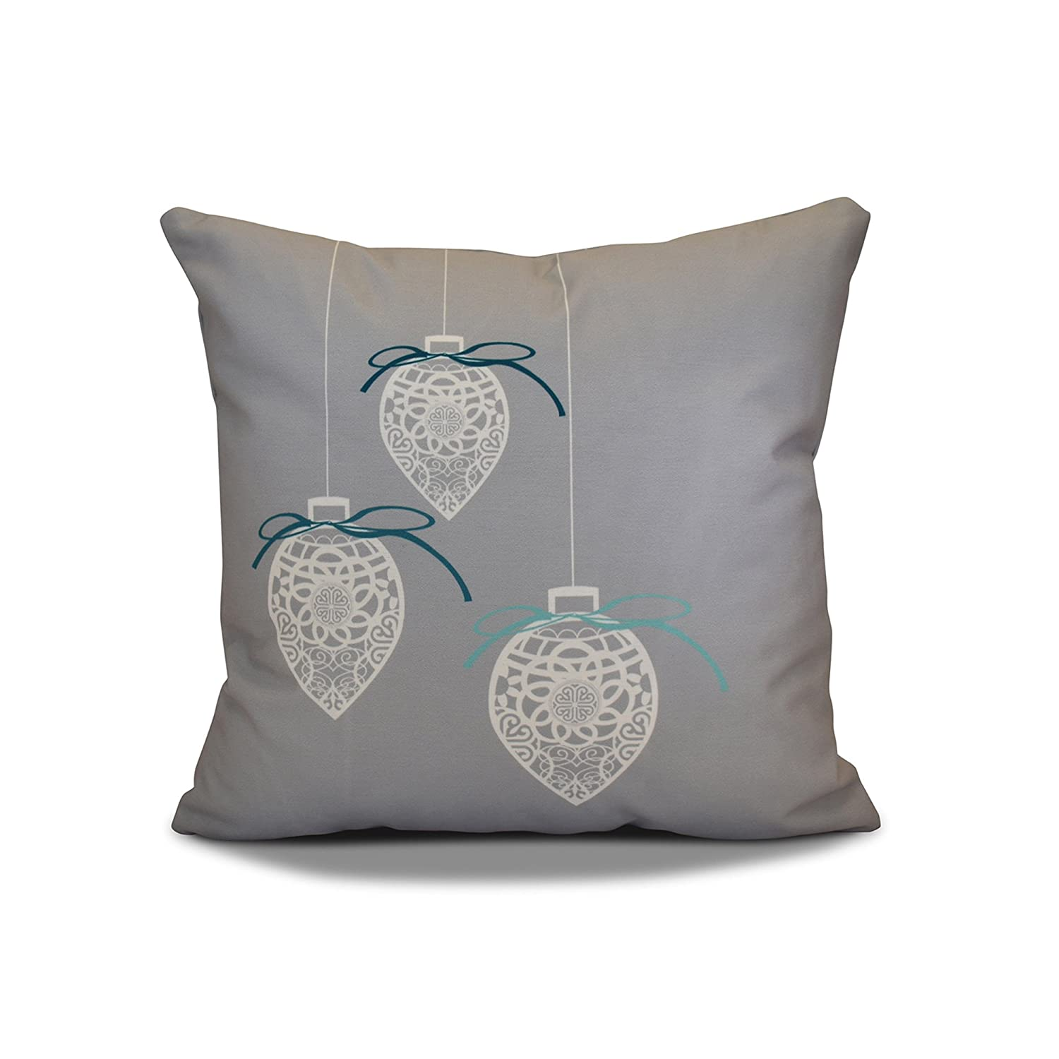 E by design PHGN679GY1-18 18 x 18 inch Geometric Print Gray Decorative Holiday Pillow