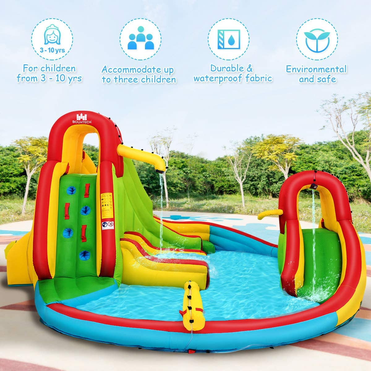 Repairing Kit Inflatable Water Park Slide with Climbing Wall Basketball Rim GYMAX Bouncy Water Castle Stakes 480 x 420 x 233 cm Water Gun Splash Pool Including Carry Bag