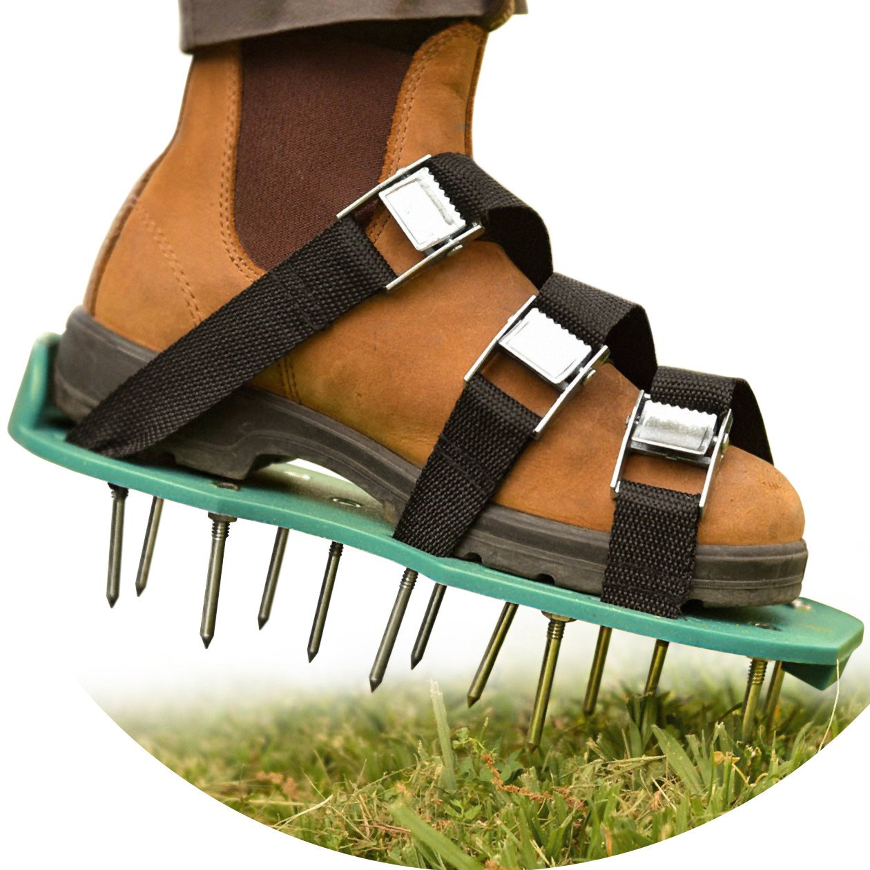Healthy and Reviving Lawn Treatment | All-In-1 Aerator Shoes | Heavy Duty Spiked Shoes, 2'' Long Steel Nails, 3 Adjustable Durable Straps With Metal Buckles | 2 Extra Spikes and Small Wrench