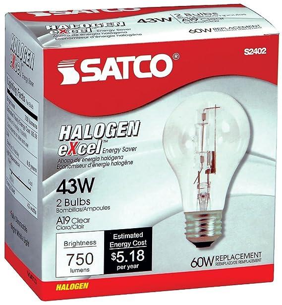 12 Pack Satco S2402 43 Watt 750 Lumens A19 Halogen 2900K Clear Light Bulbs (60 Watt Replacement) - 2 per Package (24 Bulbs Total) - - Amazon.com