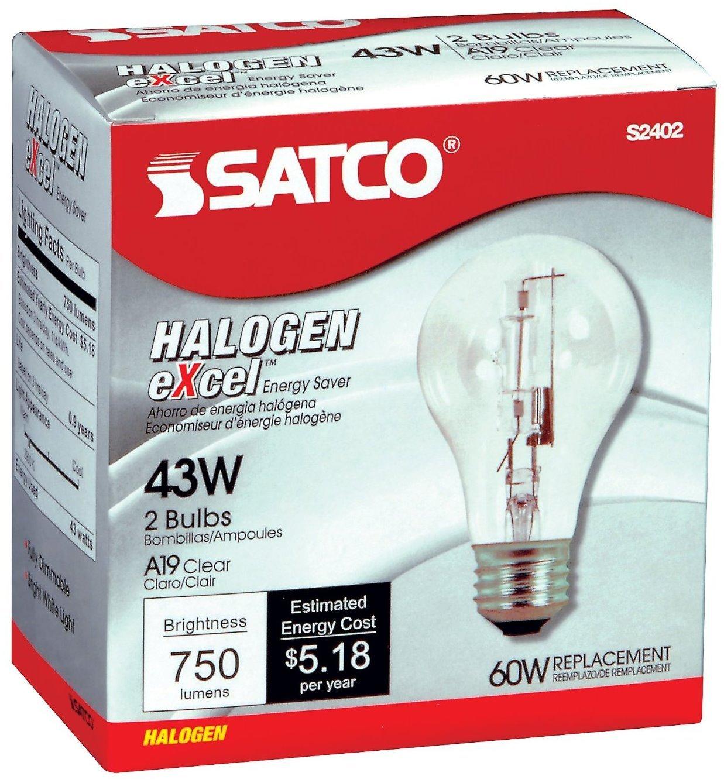 12 Pack Satco S2402 43 Watt 750 Lumens A19 Halogen 2900K Clear Light Bulbs (60 Watt Replacement) - 2 per Package (24 Bulbs Total)
