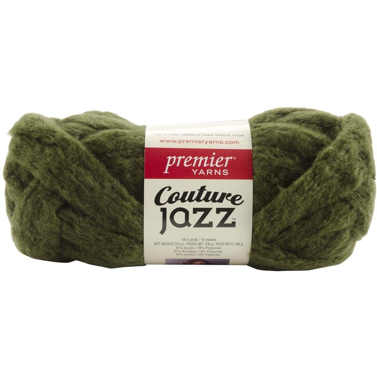 Premier Yarn Couture Jazz Yarn, Olive (Pack of 3)