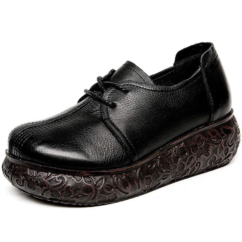 YAN Damenplattform Leather Schuhe Soft Leather Damenplattform Retro Wedge Schuhe Low-Top Casual schuhe Outdoor Casual Walking Schuhe schwarz braun schwarz 37 9a5906