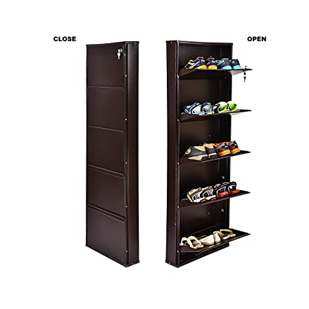 Paffy heavy duty space saver wall mount steel shoe rack- (5, brown, Paffy-steel-sr-5d-b-o)