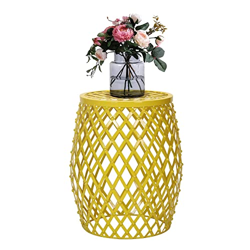 Metal Round Side End Table, Decorative Plant Night Stand Stool with Hatched Diamond Pattern Yellow