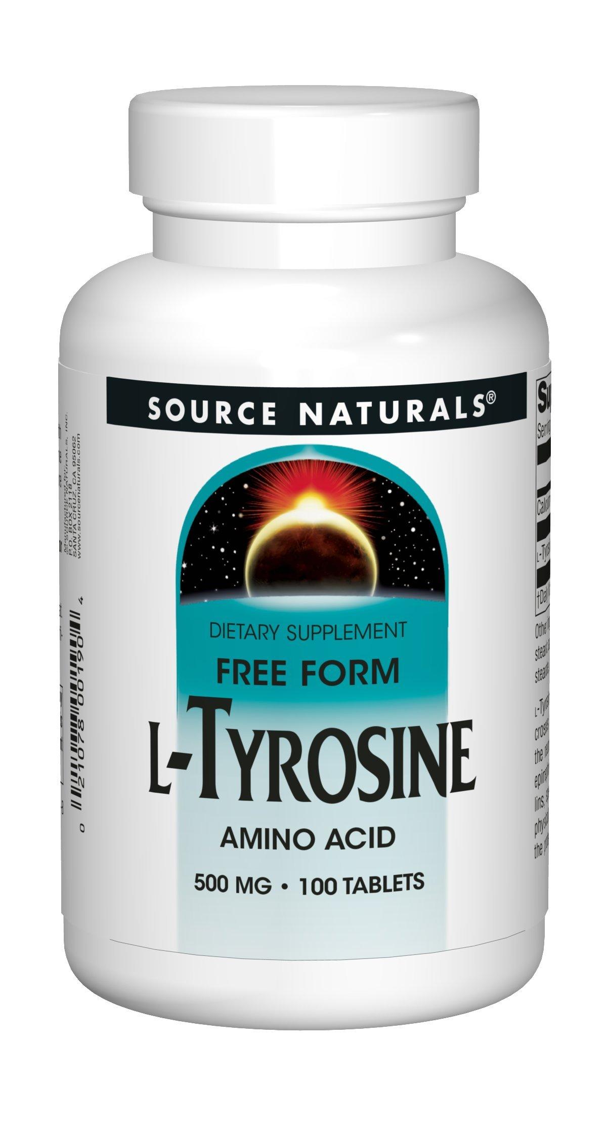 Source Naturals L-Tyrosine 500mg Free Form Amino Acid - 100 Tablets (Pack of 3)