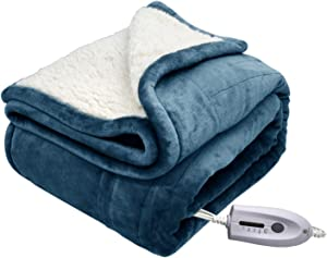 MARQUESS Electric Blanket Micro Plush Sherpa and Reversible Heated Throw Flannel Washable Comfortable Blanket with 4 Heat Settings/Safety 4 Hours Auto-Off Controller (Navy Blue, 50 x 60)