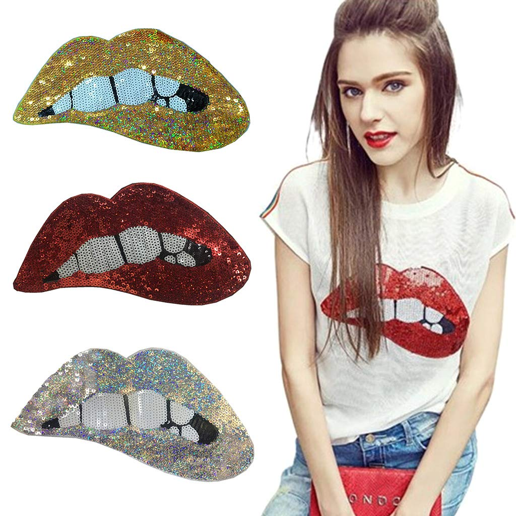 Sequins Lips Patches for Garment Accessories Embroidered Iron On Patches for Clothing DIY Motif Applique 2 Pack Gold