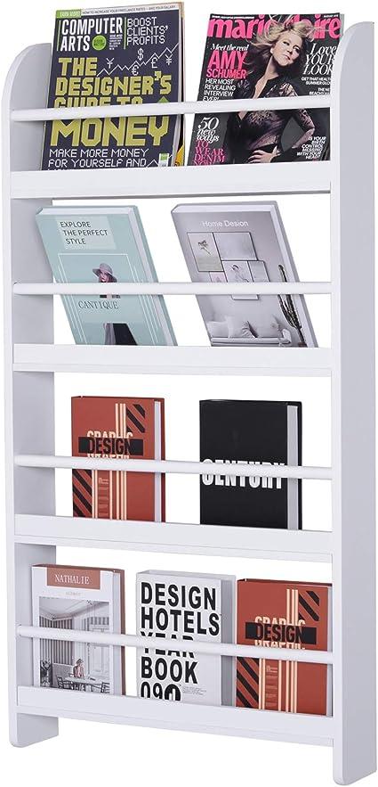 HOMCOM Estantería de Pared de Libros con 4 Estantes Librería Infantil para Hogar Oficina Carga 30kg 59x12x113cm Blanco
