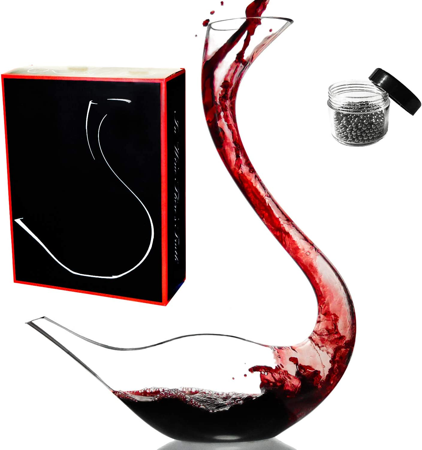 Le Sens Amazing Home Cygnus Wine Decanter 100% Hand Blown Crystal Glass Swan Decanter, Red Wine Carafe, Wine Present, Wine Accessories, Delicate Box Wrapped and Cleaning Beads Set