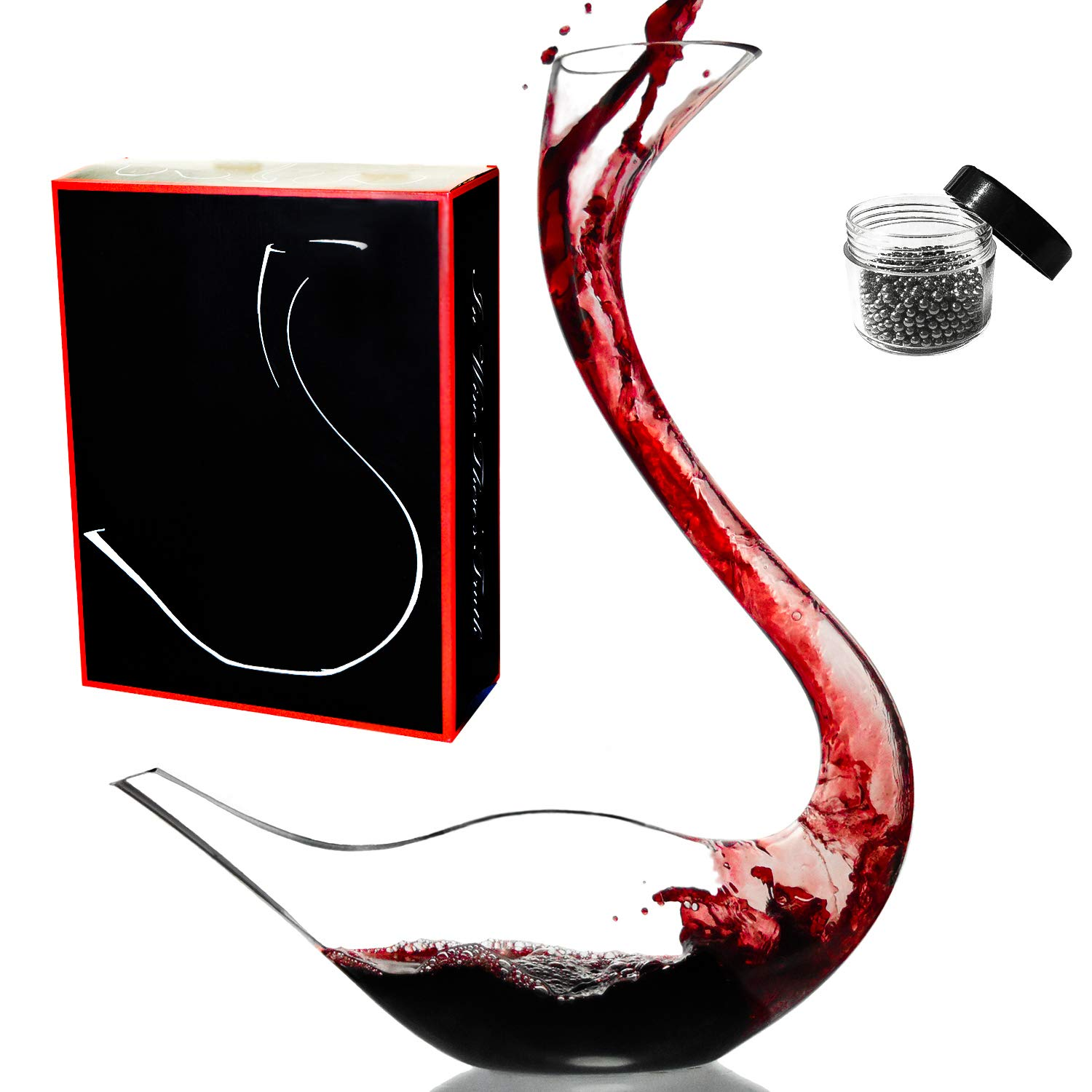 Amazing Home Cygnus Wine Decanter 100% Hand Blown Lead-free Crystal Glass Swan Decanter, Prepackaged Red Wine Carafe, Wine Gift, Wine Accessories,Gift Box Wrapped and Free Cleaning Beads Set EGRET-T