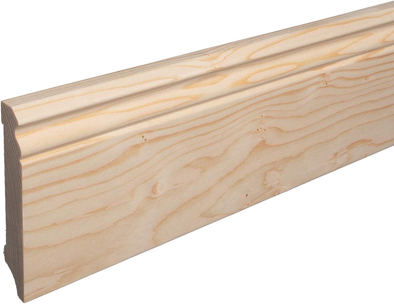 SPARPAKET Massivholz-Sockelleisten Fichte roh geschliffen Alt-Berliner Profil 80mm H/öhe, 1 St/ück // 2,3lfm