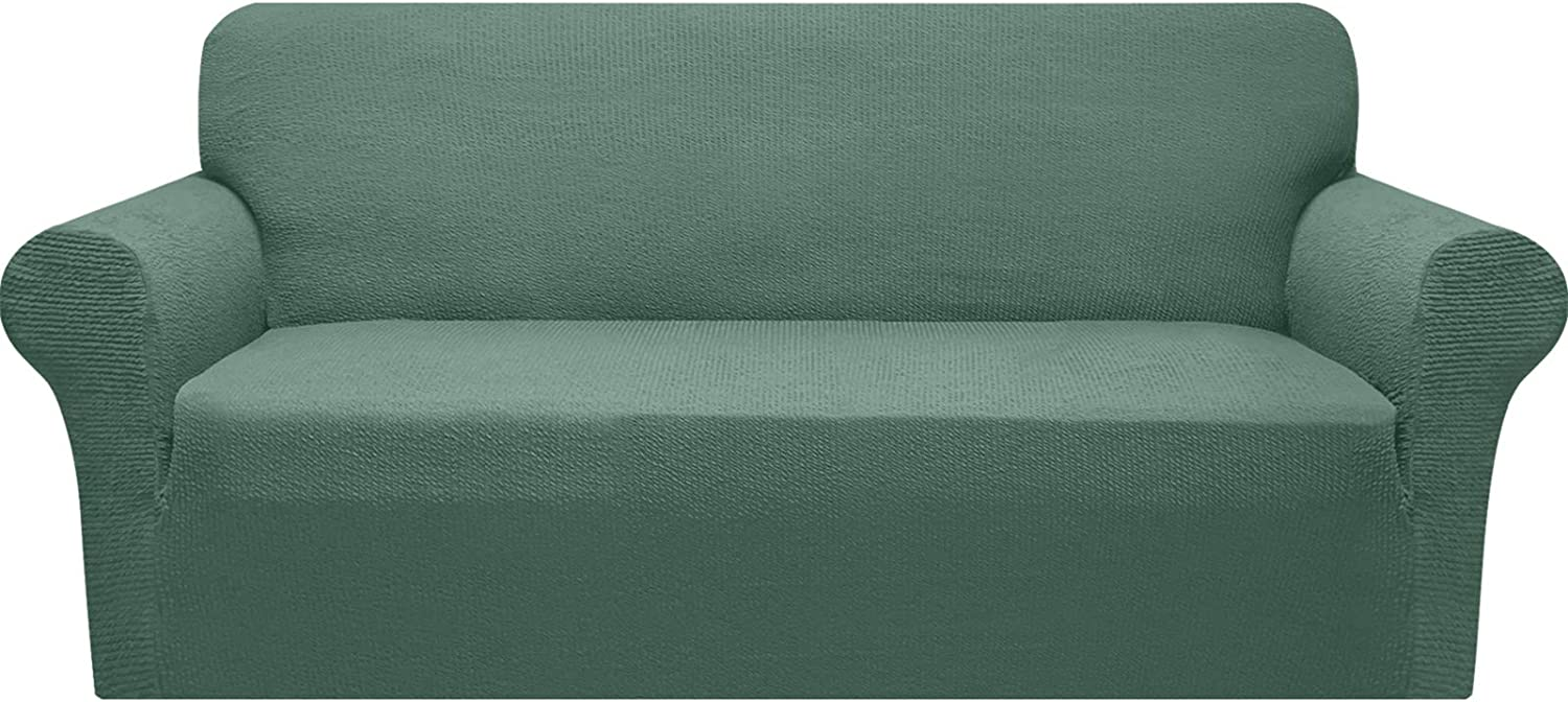 Granbest Stretch Sofa Cover 1-Piece Couch Cover for Oversized Couch Protector for Living Room Washable Sofa Slipcover with Non Slip Foam Skids Pet Hair Proof Spandex Jacquard (X-Large, Matcha Green)