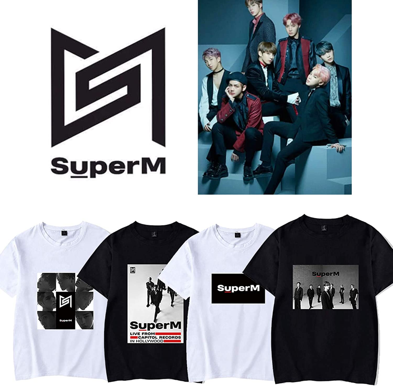 babyhealthy Kpop Super M Music Concert T-Shirt Mark Kai Baekhyun Taeyong Tee Shirt Tops