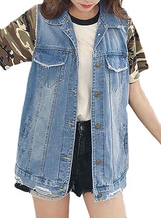 857d5df266723 Etecredpow women sleeveless jacket coat loose denim waistcoat cut off jean  vest at amazon womens coats