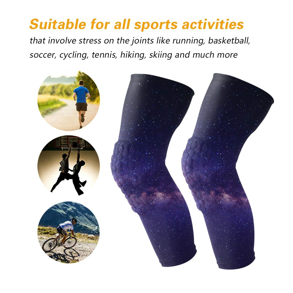HEY BOX Galaxy Starry Sky 1 Pair Anti-Slip Honeycomb Knee Pads Protector Long Compression Leg Sleeve for Men Women Youth Adult Volleyball Baseball Football Wrestling