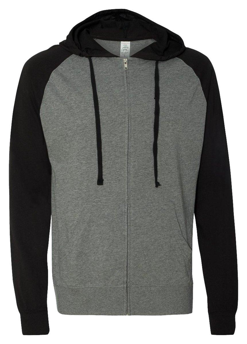 Independent Trading Co. Lightweight Jersey Raglan Hooded Full-Zip T-Shirt, Gunmetal Heather/Black, XX-Large