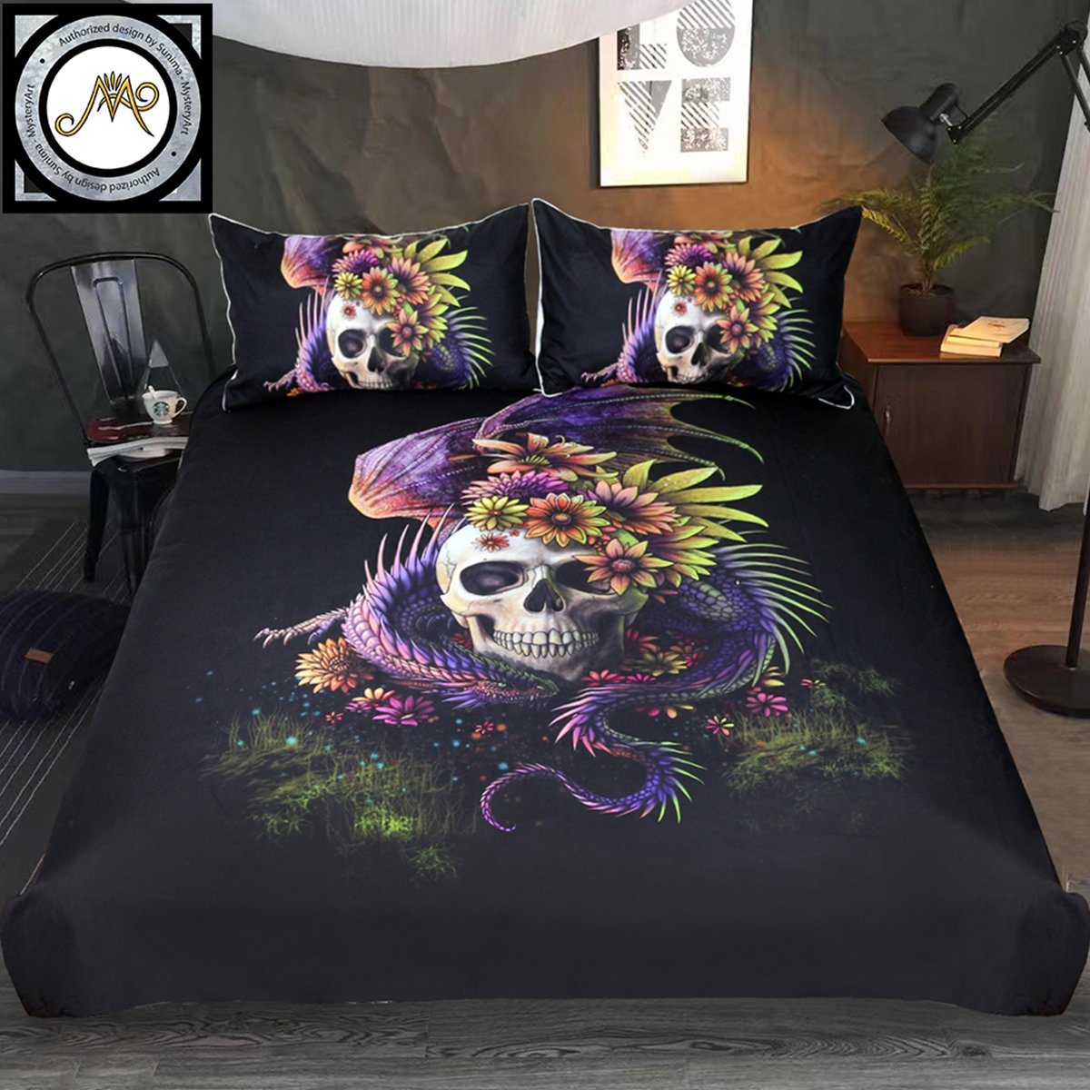Sleepwish Flowery Skull by Sunima Bedding Set 3pcs Purple Black Dragon Skull Duvet Cover Gothic Bed Set for Men (Full) Youhao SQS012210002