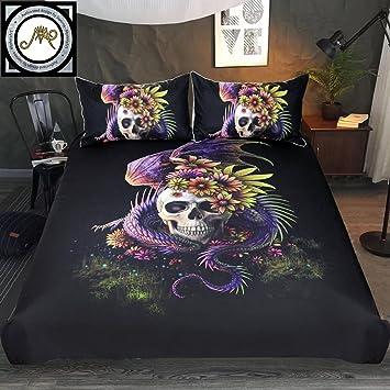(Full)   Flowery Skull By Sunima Bedding Set 3pcs Purple Black Dragon Skull  Duvet