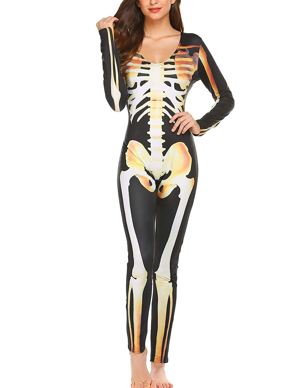 Ekouaer Women Halloween Costume Cosplay Skeleton Print Bodycon Catsuit Jumpsuits