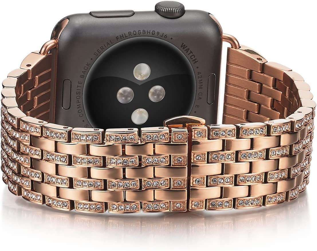 Shangpule Compatible Apple Watch Band, Unique Jewelry Style Luxury Stainless Steel Bracelet Strap Compatible Apple Watch Series 1 Series 2 Sport and Edition Version(38mm-Rose Gold)