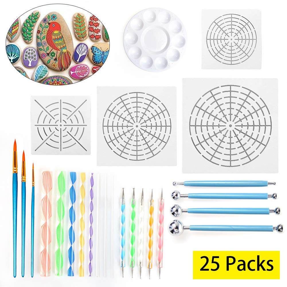 Pack of 25Pcs Mandala Dotting Tools, Include Mandala Stencil, Mandala Dotting Pen, Paint Tray,Brush and Modeling Tools for for Painting Rocks Pen Dotting Tools Kids' Crafts by LAMPTOP