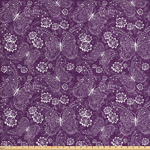 Ambesonne Plum Fabric by The Yard, Floral Romantic Pattern with Vintage Style White Butterflies Swirly Wings and Flowers, Decorative Fabric for Upholstery and Home Accents, White Plum ()
