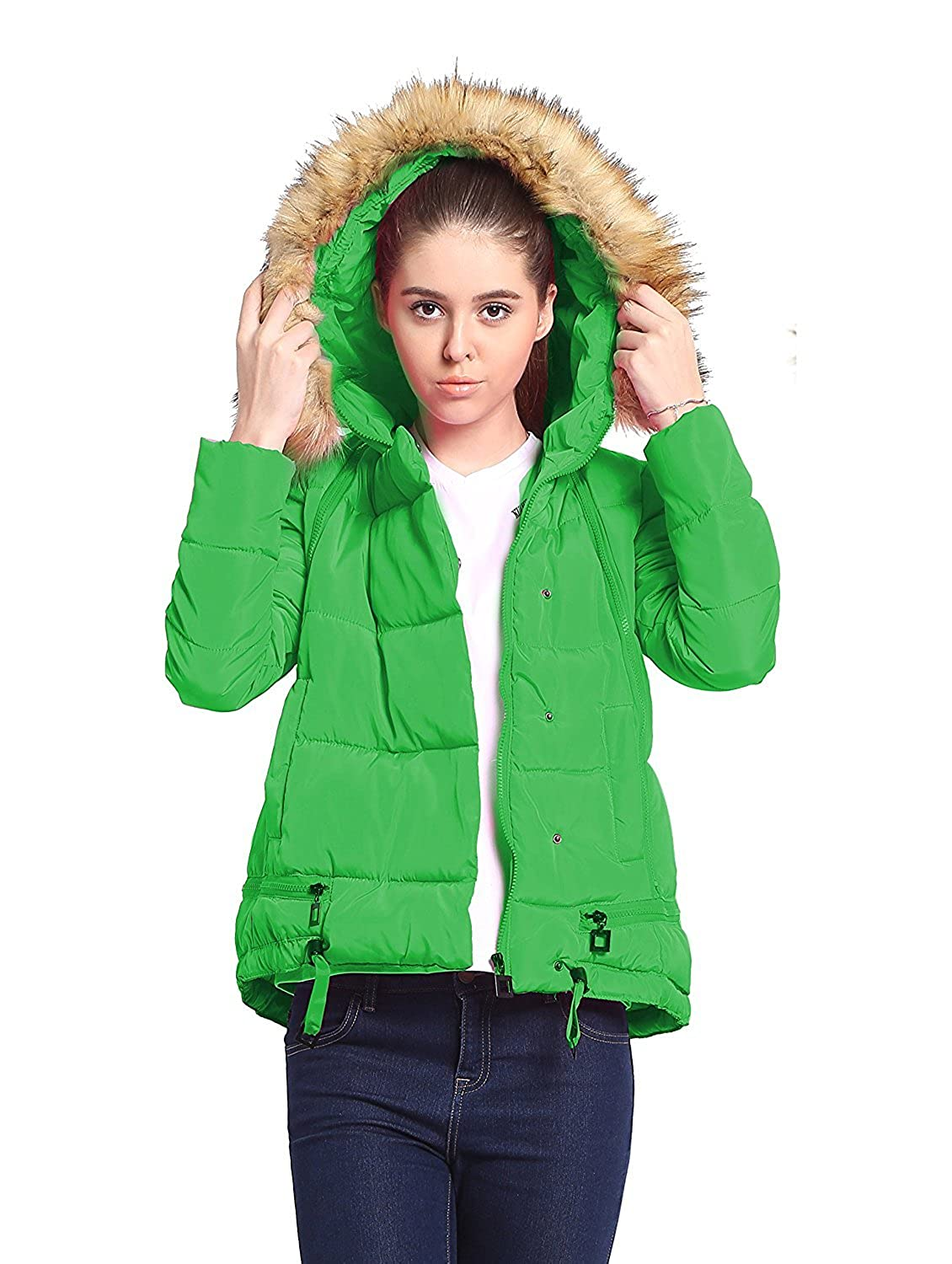 Mojessy Junior's Winter Faux Fur Hoodie Coat Parka Down Candy Jacket Overcoat