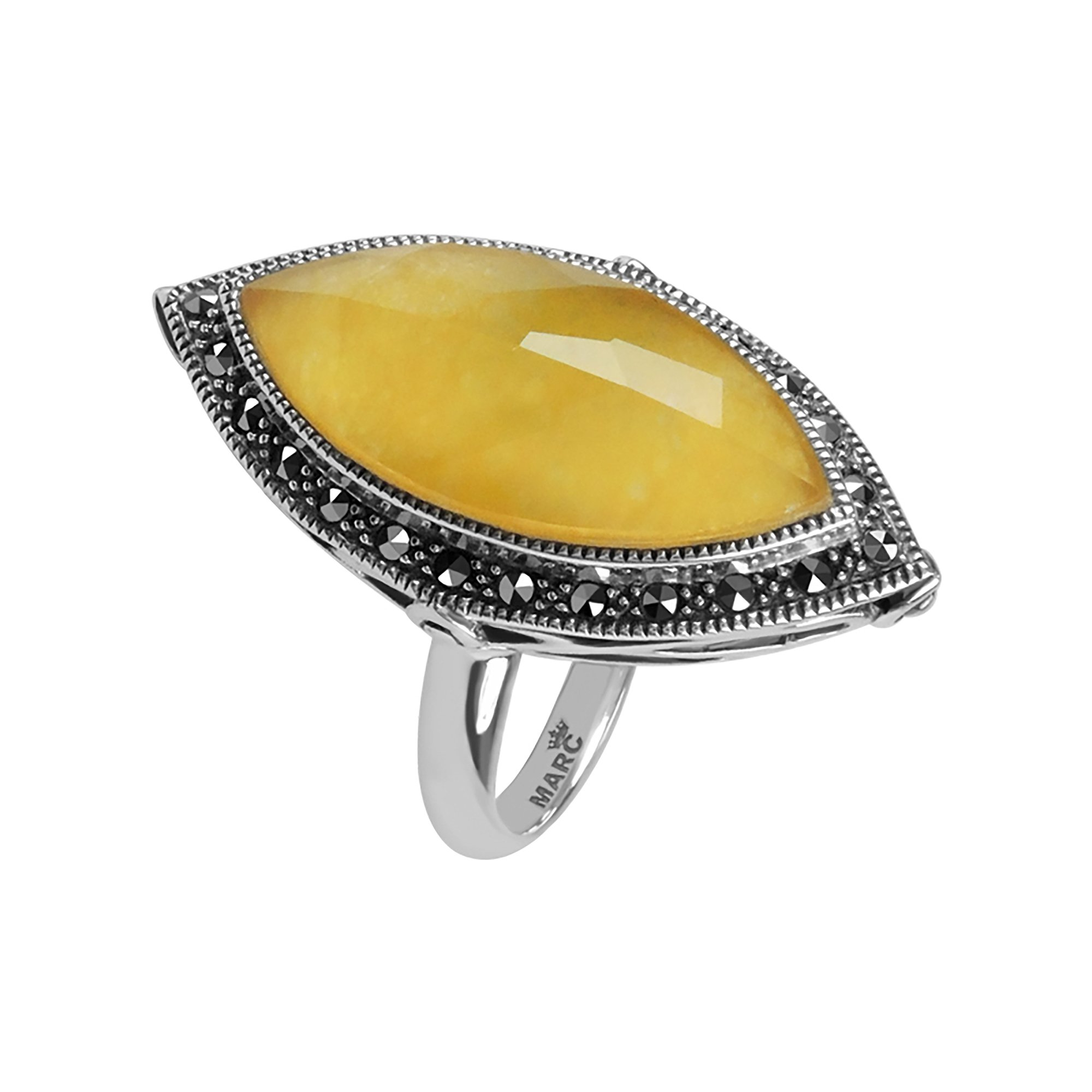 Aura by TJM Sterling Silver 7.80 cts Crystal & Yellow Quartzite Doublete and Marcasite Adjustable Size (5-10) Ring