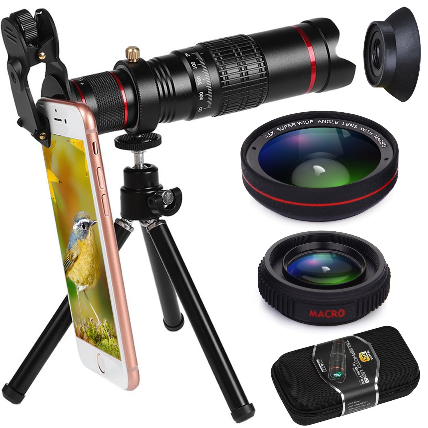 Phone Camera Lens, Bhuato Upgraded 22X Zoom Telephoto Lens + 0.5 Wide-Angle Lens + 15X Macro Lens + Tripod + Carrying Case Compatible iPhone X/8/7/7 Plus/6/6s, Samsung Galaxy S8/S7/S6 Most Smartphones by BHUATO