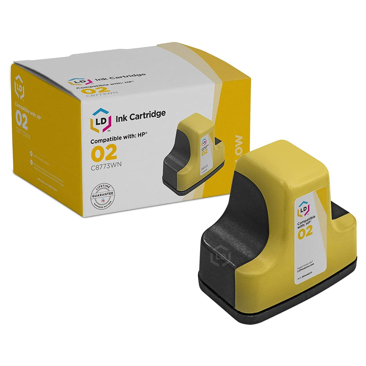 Amazon.com: LD Remanufactured Ink Cartridge Replacement for HP 02 C8773WN  (Yellow): Electronics
