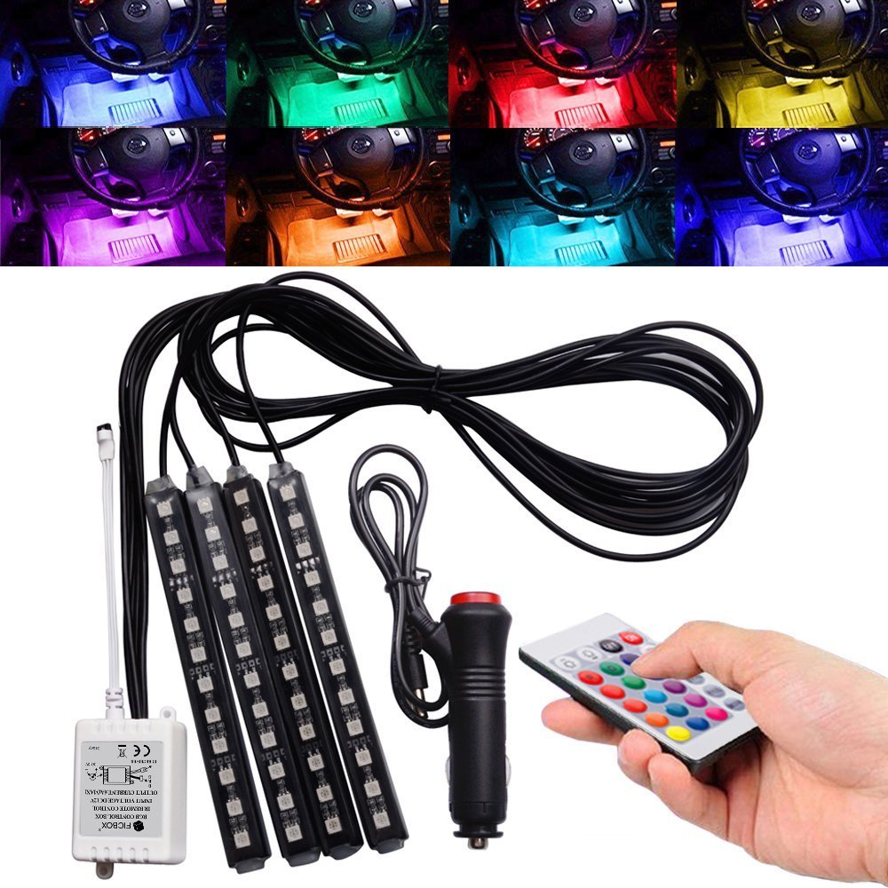 Car LED Strip Light,FICBOX (Upgraded)4Pcs 48 LEDs Multi-Color Car Interior Light,Auto Atmosphere Lights Strip Waterproof Glow Neon Lighting Kit with Wireless Remote Control and Car Charger