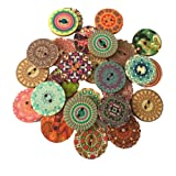 HANGOOD 50pcs Mixed 2 Holes Flower Pattern Wooden Buttons for Sewing Crafts Clothes 25mm
