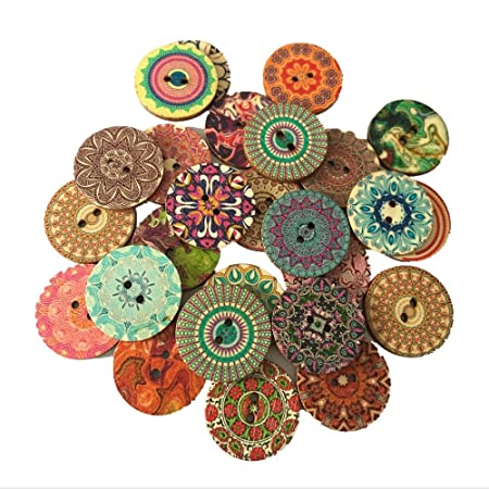 50pcs 2 Hole Heart Wood Buttons Clothing Decor Home Sewing Scrapbooking 25mm