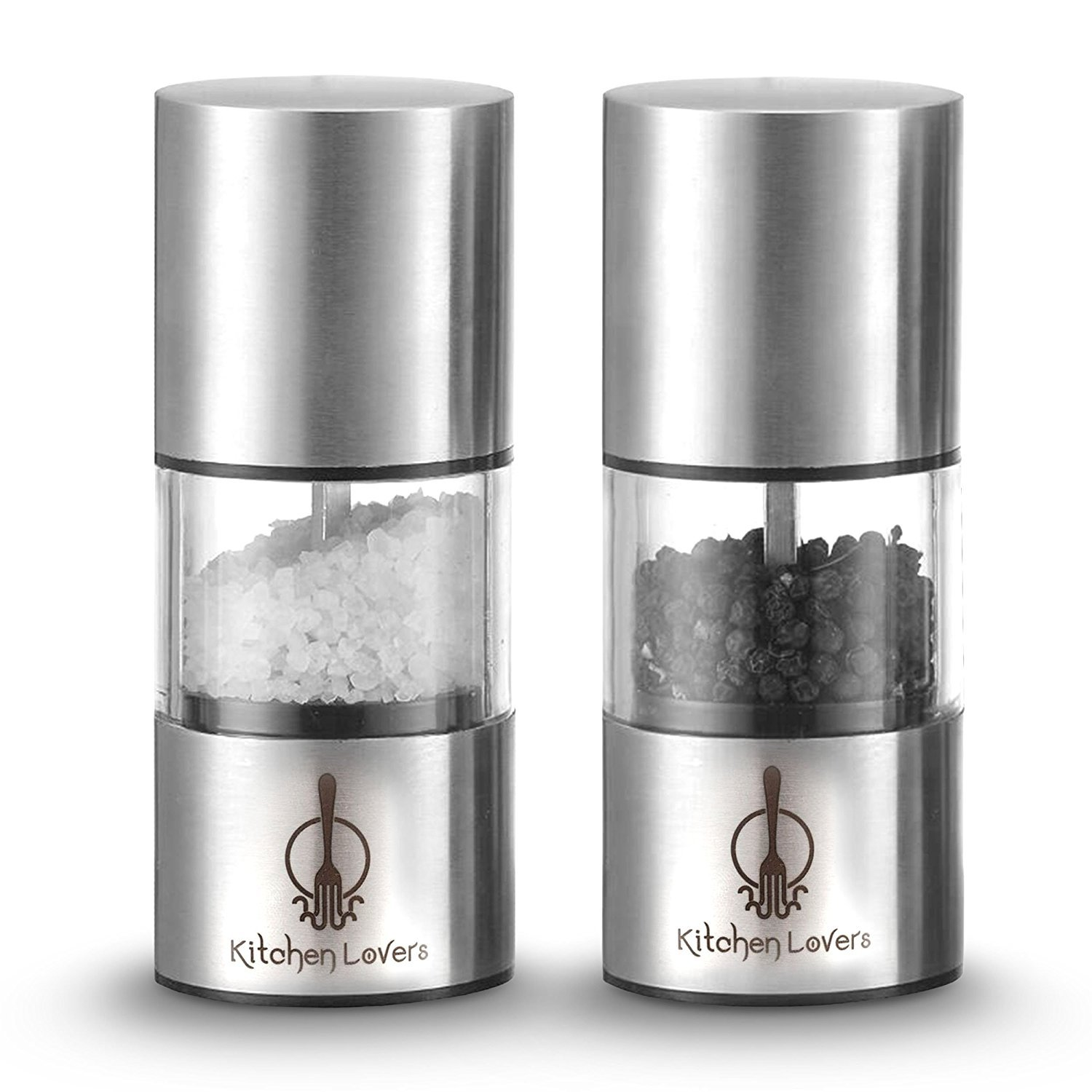 Kitchen Lovers Salt and Pepper Mill Set with Adjustable Grinder Settings