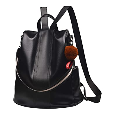 65a9fb0356af Amazon.com  Women Backpack Purse PU Leather Anti-theft Backpack Casual Satchel  School Shoulder Bag for Girls(Black)  Shoes