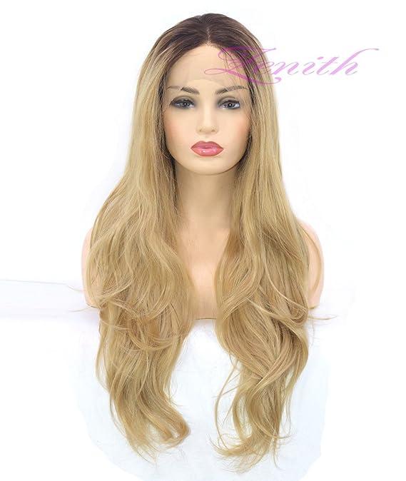 DSY marrón oscuro arraigado luz rubio encaje peluca delantera para las mujeres mejor pelo sintético ondulado peluca con impecable 24 pulgadas de líneas ...