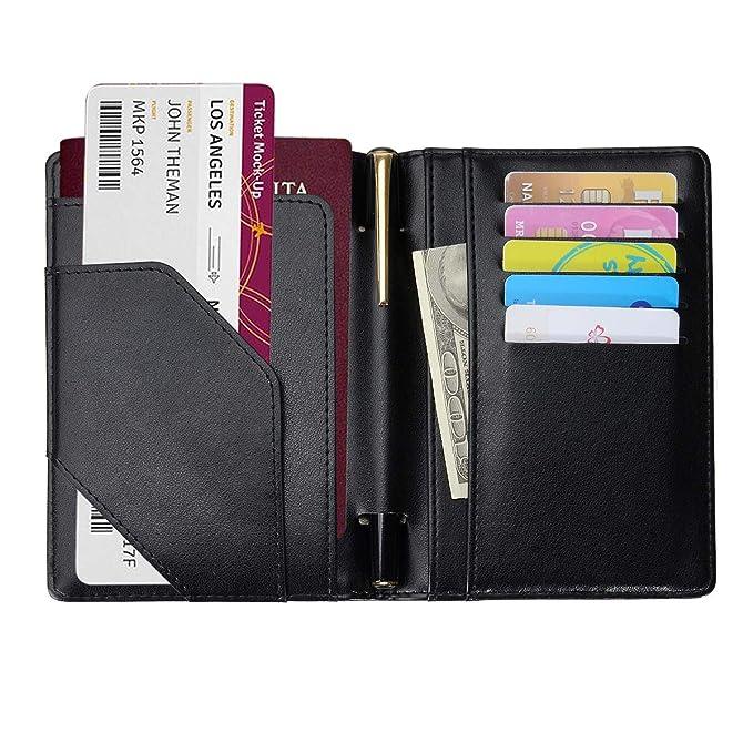 COCASES RFID Bloqueo de la Billetera del Titular del Pasaporte, Etiquetas de Equipaje, Cubierta de Pasaporte Multiusos Funda de Billetera de Viaje ...
